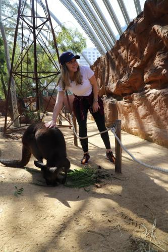 Simona feeding animals at the zoo