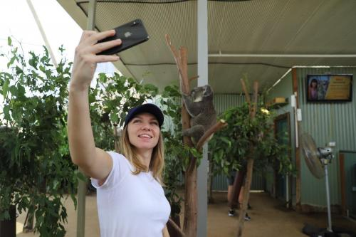 Simona takes selfie with the wild animals